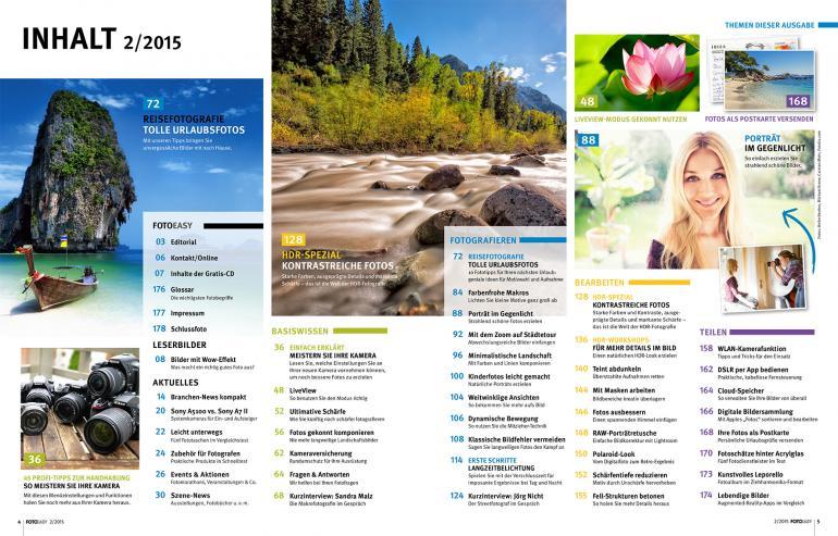 Inhaltsverzeichnis der neuen FotoEASY 2/2015