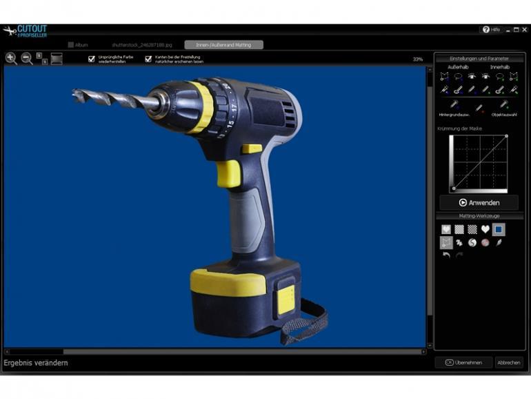 Cutout für Profiseller soll mithilfe von Retusche-Werkzeugen Sensorflecken, Schatten, Staub und Kratzer entfernen.