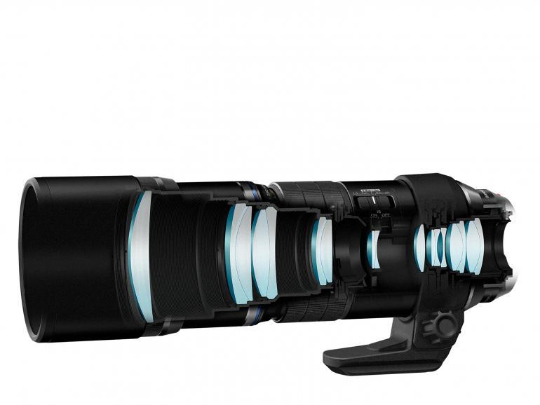 Querschnitt des neuen Teleobjektivs M.Zuiko Digital ED 300 mm 1:4.0 IS Pro von Olympus.