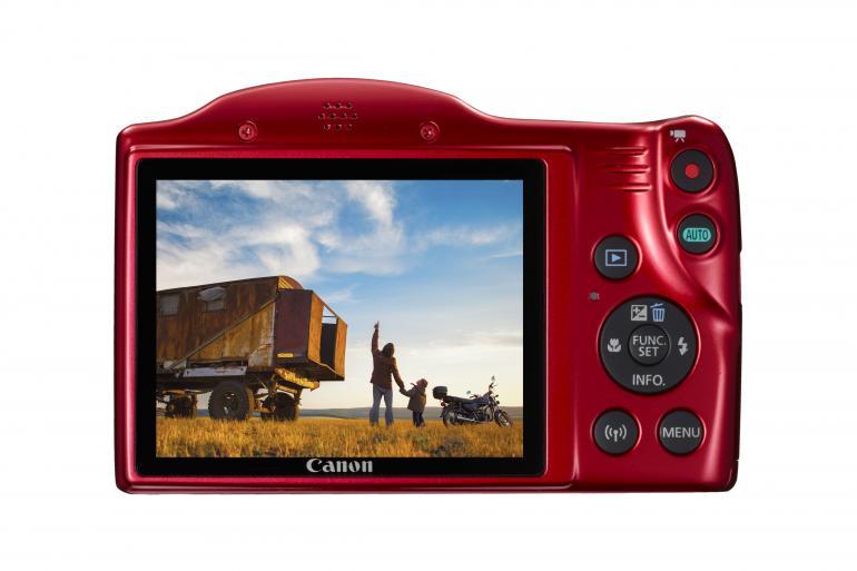 Rückseite der neuen Powershot SX420 IS von Canon – auch in rot erhältlich.