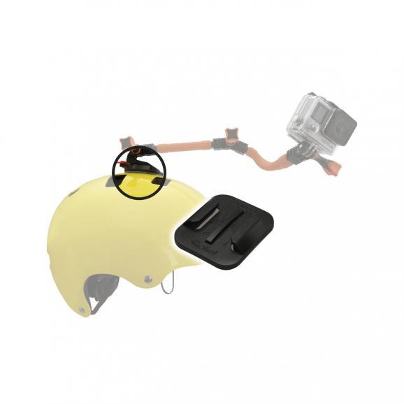 Rollei bietet mit dem Safety Pad (ca. 20 Euro) Befestigungsmöglichkeiten für Action-Cams an, die mit Sollbruchstellen Verletzungen vermeiden sollen.