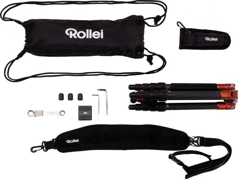 Im Lieferumfang enthalten sind neben Stativkopf, Spikes und der Schnellwechselplatte außerdem ein Schultertragegurt, ein Multifunktionsschlüssel, Inbusschlüssel, sowie eine Stativ- und eine Einbeinstativ-Tasche.