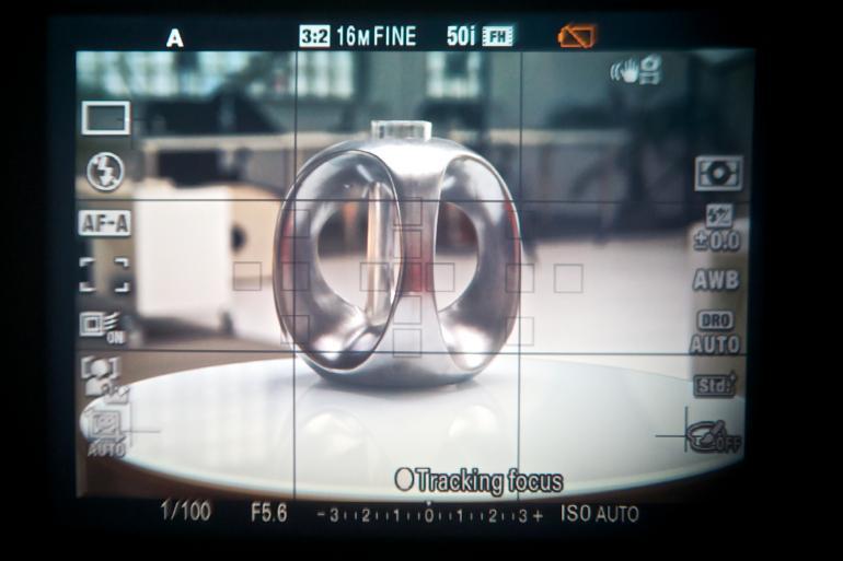Elektronischer Sucher: Der Blick durch einen elektronischen Sucher (hier: Sony SLT-A57) zeigt sowohl das Motiv als auch Zusatzinfos.