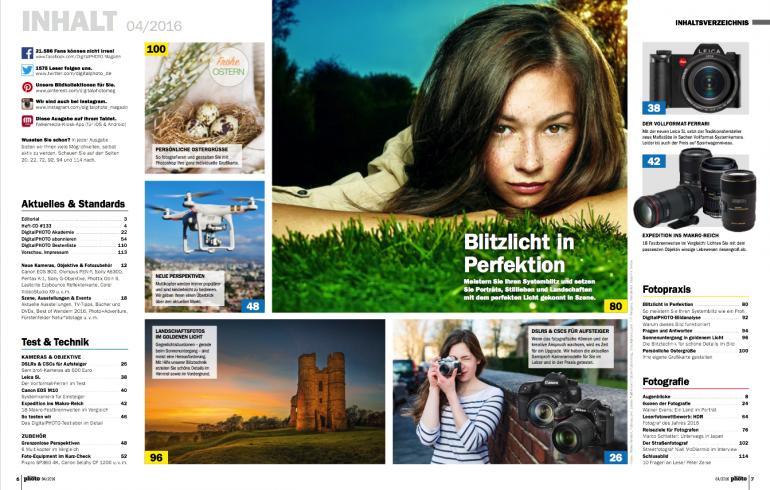 Inhaltsverzeichnis der DigitalPHOTO 4/2016