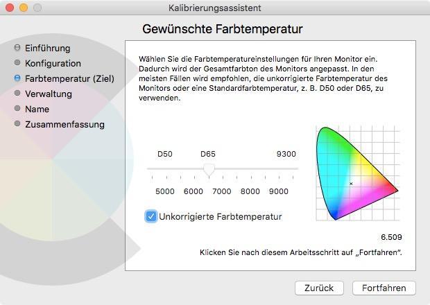 Kalibrierungseinstellungen bei Mac
