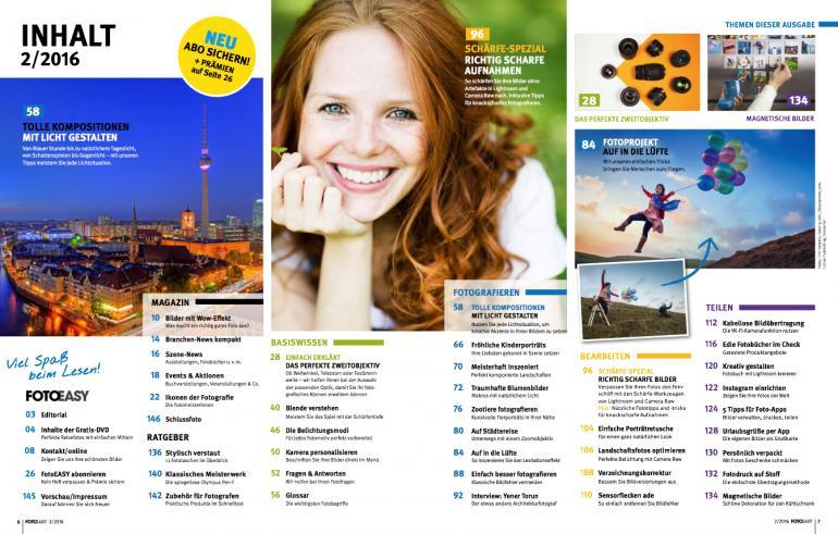Das Inhaltsverzeichnis des Magazins.