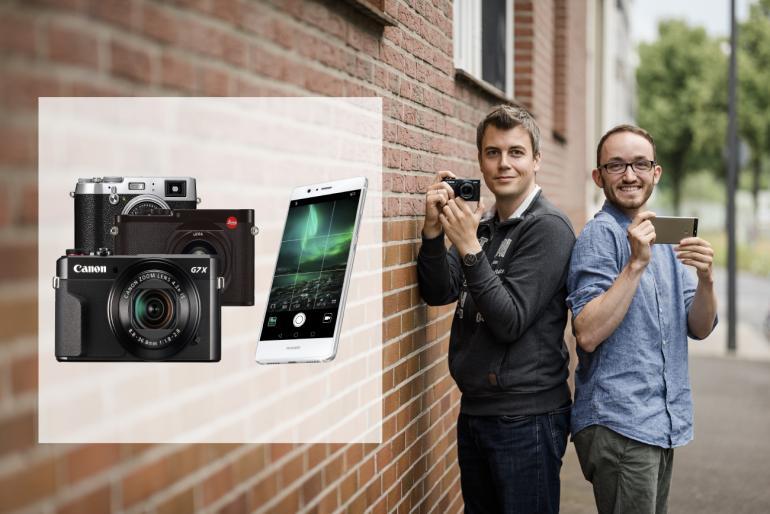Die Bildqualität der Smartphonekamera nimmt stetig zu. Und nicht nur wir fragen uns: Braucht man heutzutage noch eine Kompaktkamera? Die Technikexperten Ben Lorenz (l.) und Tim Herpers (r.) haben zum ultimativen Duell geladen.