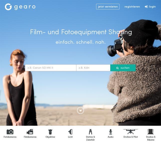 Die Startseite der Sharing-Plattform.