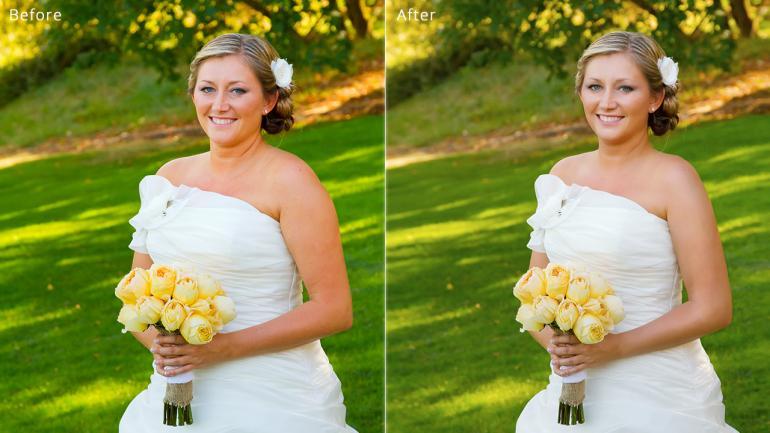 Vor und nach einer Retusche von Haut und Körper.