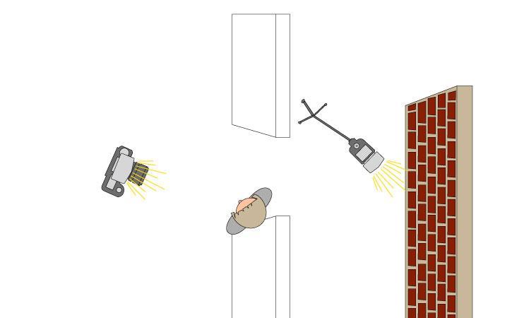 Positionieren Sie Ihr Model in einem Durchgang oder Türrahmen, die Kamera frontal mit aufgesetztem Masterblitz (indirekt an die Decke geblitzt) und einenentfesselten Blitz auf einem Stativim hinteren Bereich.