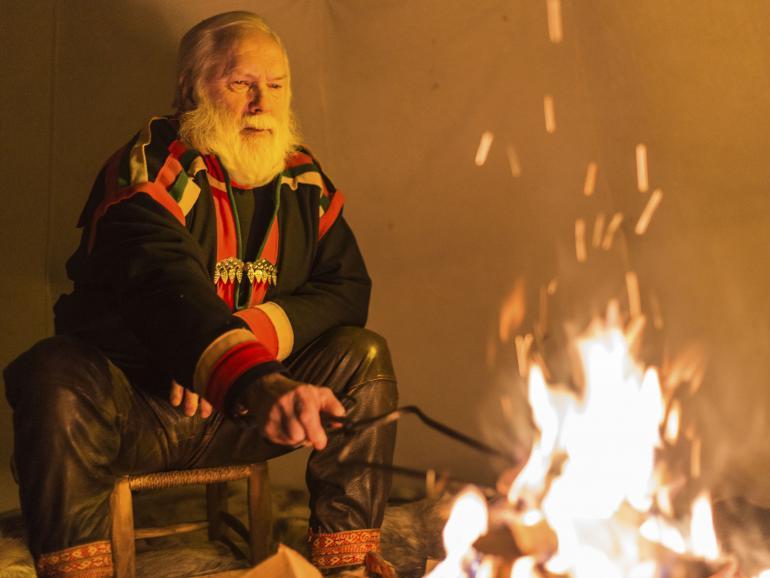 Rentierzüchter Lars kam an einem Abend vorbei und erzählte die Geschichte der Samen, der Ureinwohner Schwedens.