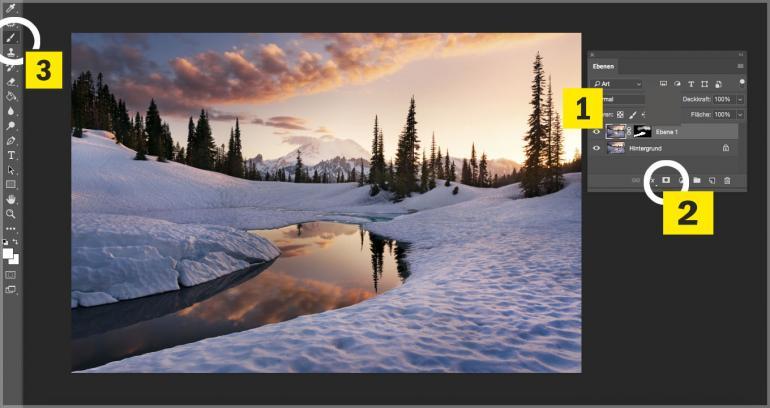 Eine sonnenwarme Schneelandschaft festhalten und bearbeiten