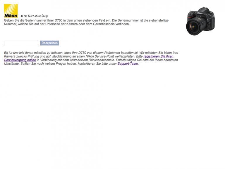 Screenshot Nikon Webseite