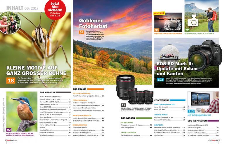 CanonFoto 6/2017 - Goldener Fotoherbst, EOS 6D Mark II im Labor- und Praxistest