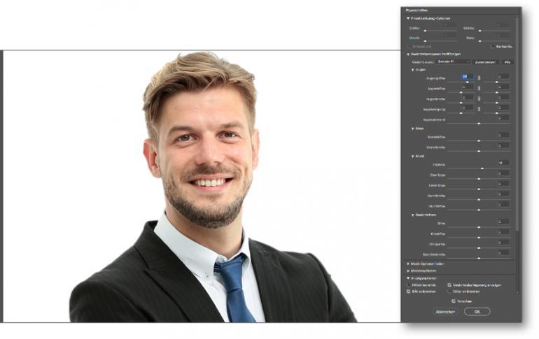 Der Verflüssigen-Filter von Photoshop CC 2018 wurde um Funktionen zur Gesichtskorrektur erweitert. Egal, ob Augenabstand, Nasengröße oder Lächeln – das wird hier per Schieberegler korrigiert.