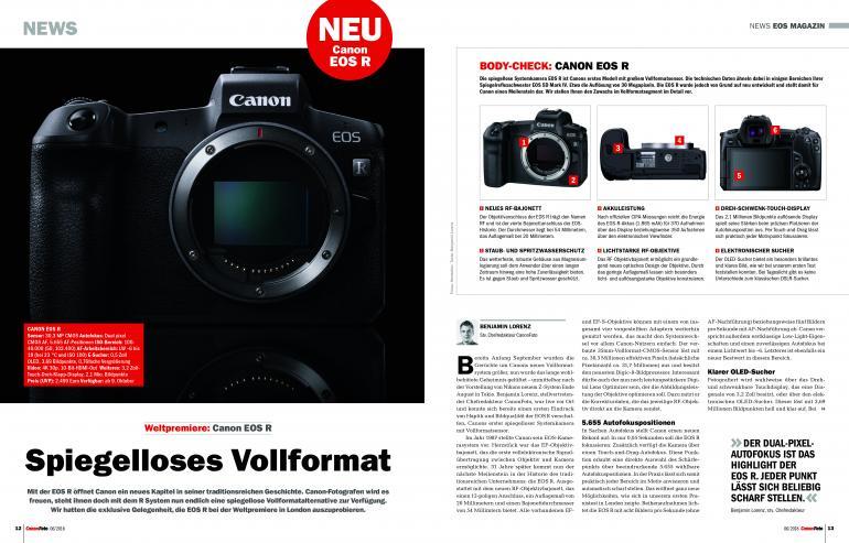 Jetzt erhältlich: CanonFoto 06/2018 - Alles zur neuen EOS R!