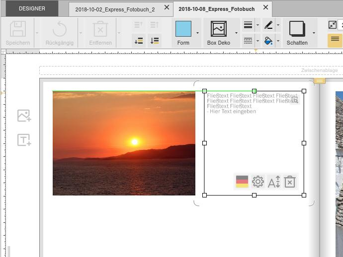 Möchten Sie ein neues Foto auf einer Buchseite einfügen, bietet SmartLayout automatisch die besten Optionen an.