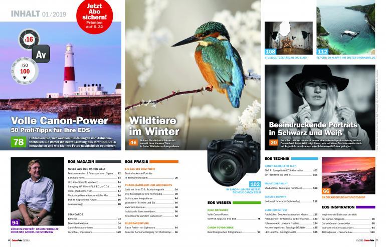 CanonFoto 01/2019 ab sofort erhältlich: 50 Profi-Tipps für Ihre EOS!