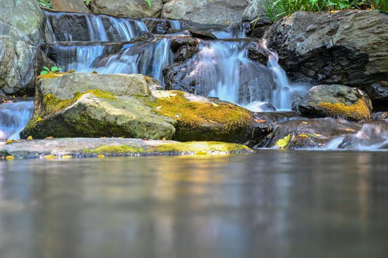 Langzeitbelichtung: Das Motiv fanden wir in einem japanischen Garten. Um das Wasser in Bewegung zu versetzen, fotografierten wir mit 0,4 Sekunden Belichtungszeit, Blende f/5,6 und ISO 64. Die Brennweite liegt bei 70mm. Die Kamera stabilisierten wir zusätzlich auf einem Stein am Ufer.