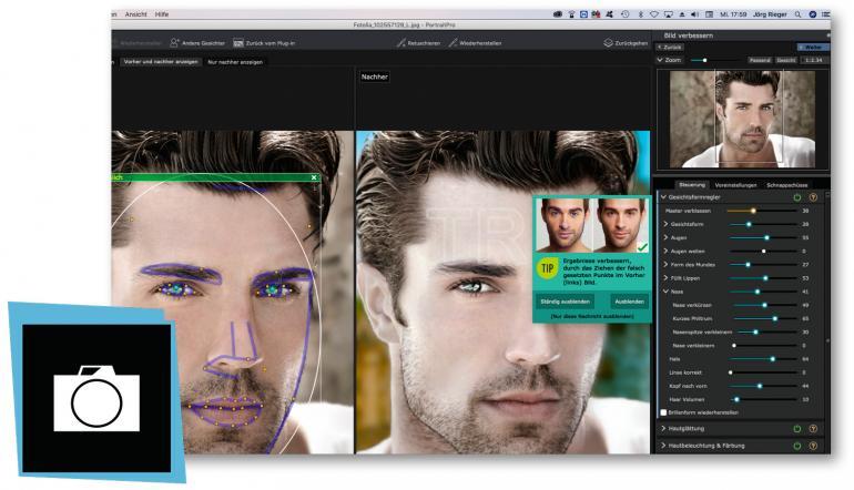 Umfangreiche Korrekturen für Porträts.