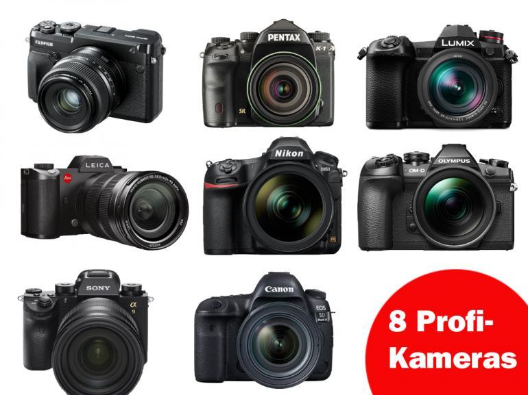 Großer Kamera Vergleich: 8 Profi-Kameras im Überblick