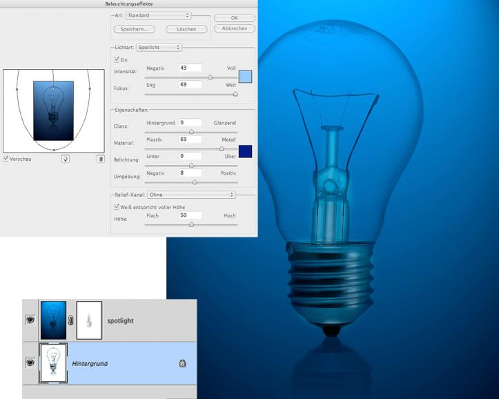 Photoshop: Glühbirne zum Leuchten bringen