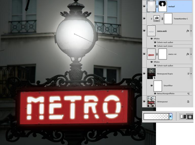 Photoshop: Straßenschild nachträglich illuminieren