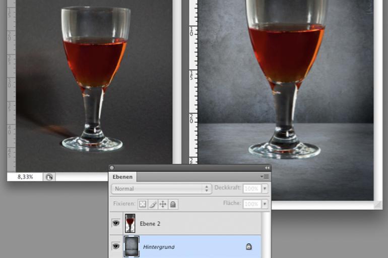 Photoshop: Transparente Objekte montieren