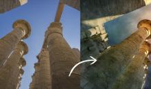 Bildmontage aus Urlaubsfotos: Ufos in Ägypten