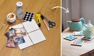 Do-it-yourself: Untersetzer mit Fotos verzieren